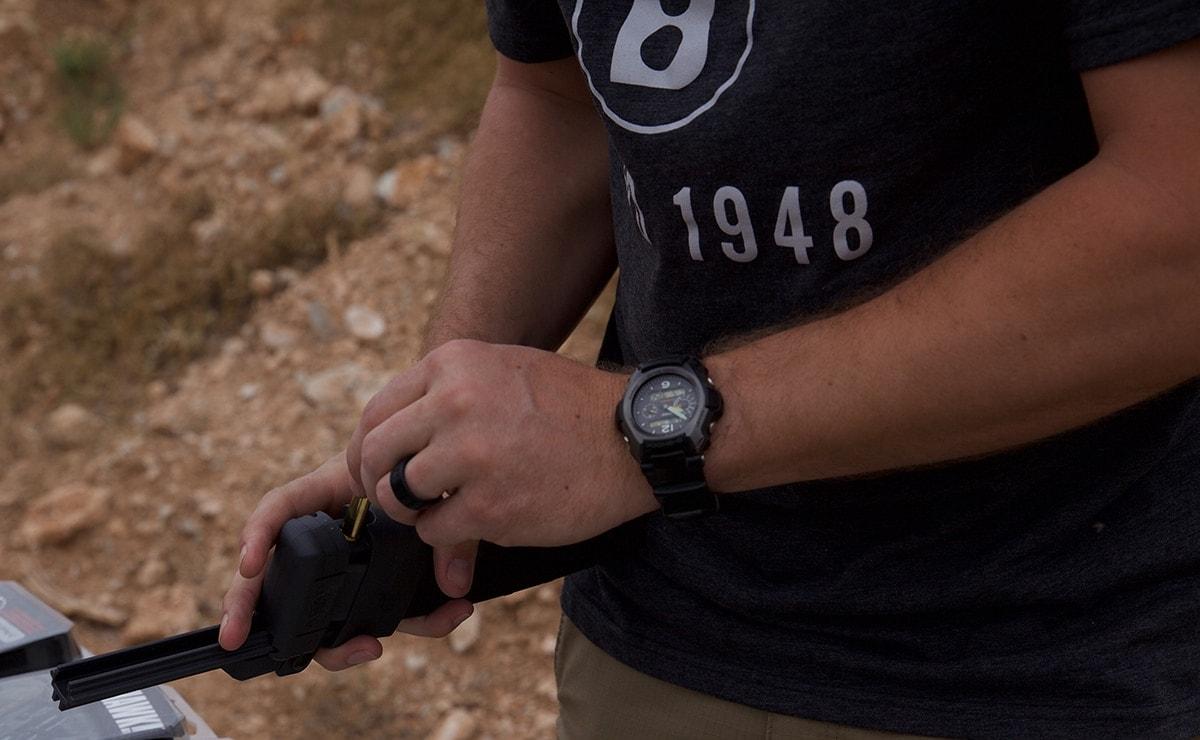 A shooter loads an AR magazine using the ASAP. (Photo: Jacki Billings)
