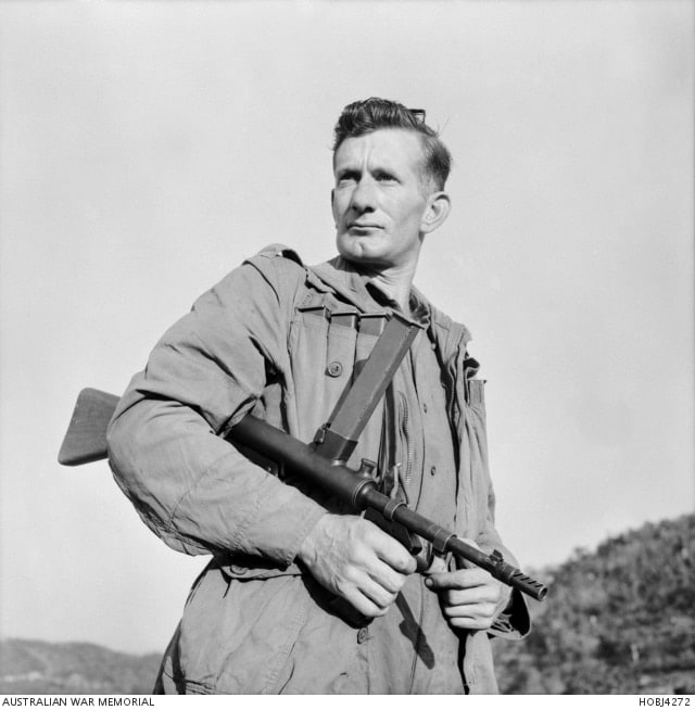 "The gun saw extensive service with Australian troops in Korea. AWM caption: ""Korea. 17 May 1953. Private Frank Cooper of The Valley, Qld, with his Owen gun at the ready, prepares to move out into no man's land with a patrol seeking the Chinese Communists."""