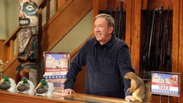 """LAST MAN STANDING - """"Mike's Pole"""" -- When Mike hangs his prized U.S. flag in the yard, 14-year-old Eve is inspired by her father's patriotism and announces she wants to join the Junior ROTC, which concerns Vanessa. Later on, a chance meeting at the VFW with a female armory gunner has an impact on Eve, on """"Last Man Standing,"""" FRIDAY, FEBRUARY 1 (8:00-8:31 p.m., ET) on the ABC Television Network. (ABC/MICHAEL ANSELL) TIM ALLEN"""