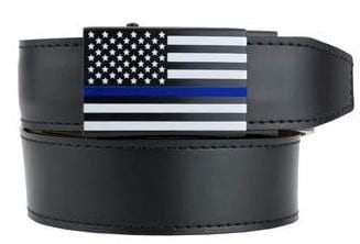 The Thin Blue Line belt by Nexbelt uses the familiar graphic to commemorate the sacrifices of fallen police officers. (Photo: Nexbelt)
