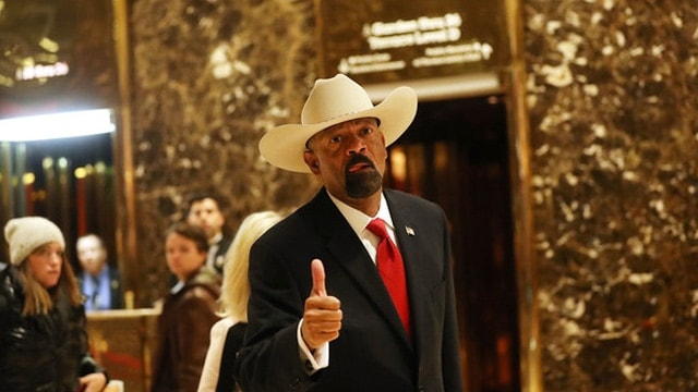 Milwaukee Sheriff David Clarke before his meeting with then President-elect Trump in Trump Tower.