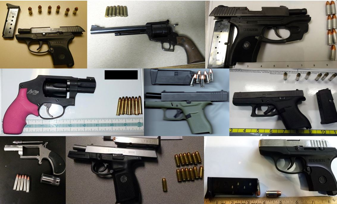 TSA discovered 82 firearms in carry-ons at their checkpoints during one week this month, a new record for the agency. (Photo: TSA)