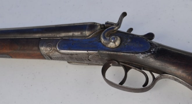 The SXS German-made double, likely a black powder gun made with Damascus steel, dates from 1892 and is thought to be worth four figures. (Photo: Jon Anderson/Hoover Sun)