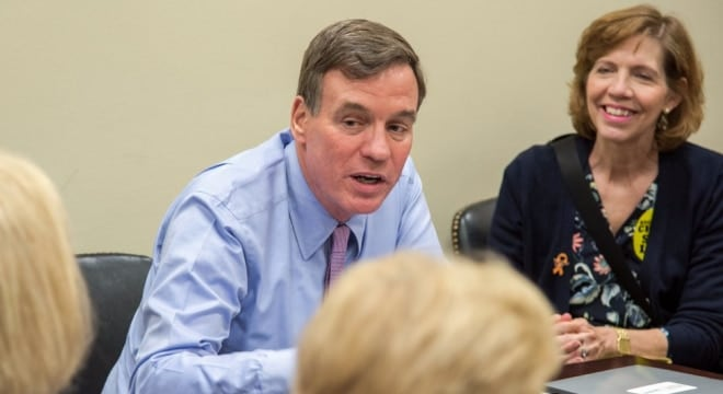 Virginia Democrat Mark Warner, who has backed gun control legislation in the past, says he will not support national reciprocity. (Photo: Sen. Herring's office)