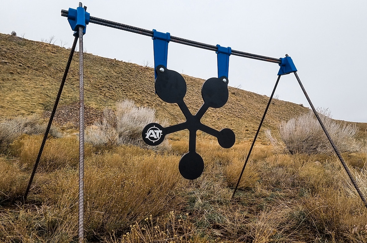 The PT Gong series offers a bevy of steel targets held in pace by a self-healing polymer strap. (Photo: Action Targets)
