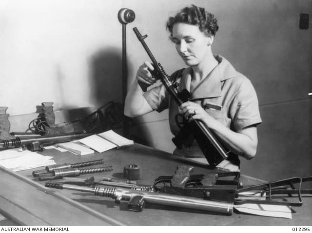 In all, some 45,000 of the gun was made, for a cost of about $30 each. As in the U.S. and Britain, the Australians diversified their workforce for the war effort