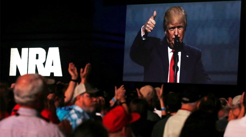 President Donald Trump delivers remarks at the National Rifle Association Leadership Forum at the Georgia World Congress Center in Atlanta, April 28, 2017. (Photo: Reuters)