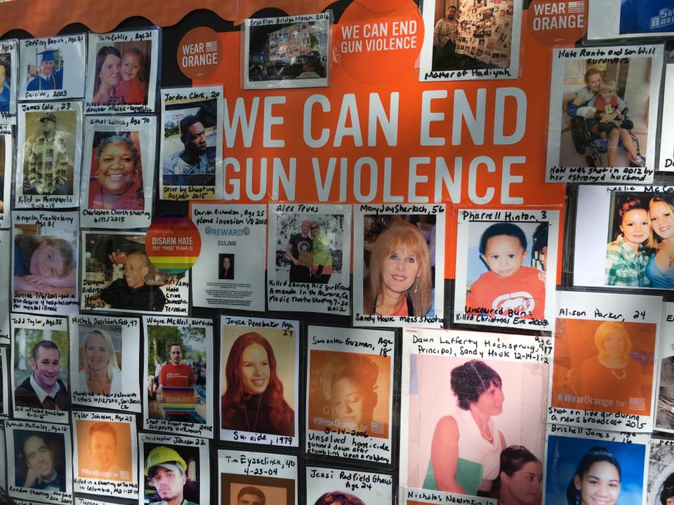Victims of gun violence honored at Moms Demand Action's fifth annual march across the Brooklyn Bridge on June 3. (Photo: Gays Against Guns/Facebook)