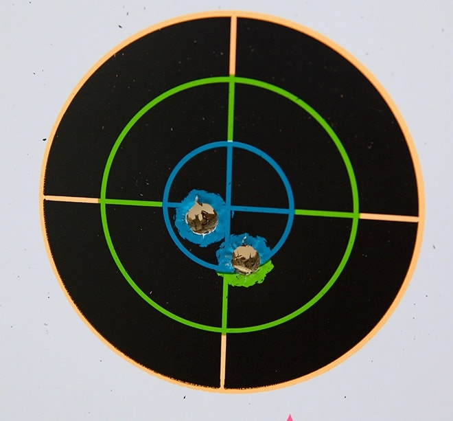 The G19's first two shots out of the box at 5 yard. (Photo: Jacki Billings)