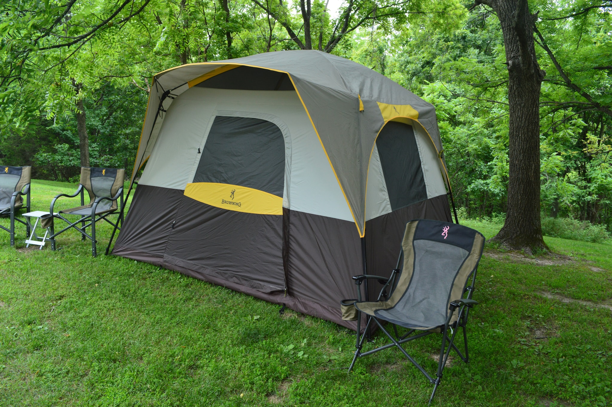 Alps Outdoorz is much more than hunting gear. They showed off a full line of Browning Camping items, from various tents to camp chairs and accessories. This Ridge Creek tent sleeps up to five, though it looks like a couple hunters with all their gear could work out of this model on a hunting trip. (Photo: Kristin Alberts)