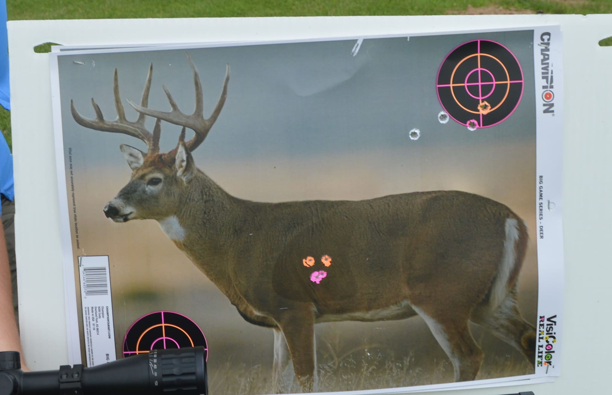 Champion's new VisiColor Real Life Big Game targets are a great sight-in option for hunters. Available in either whitetail, antelope, or bear, these targets are have vital areas marked by different colors. Here you can see heart shots show up as pink, while lung and outer vitals are orange. Smaller bullseyes in the corners allow for further target practice. (Photo: Kristin Alberts)