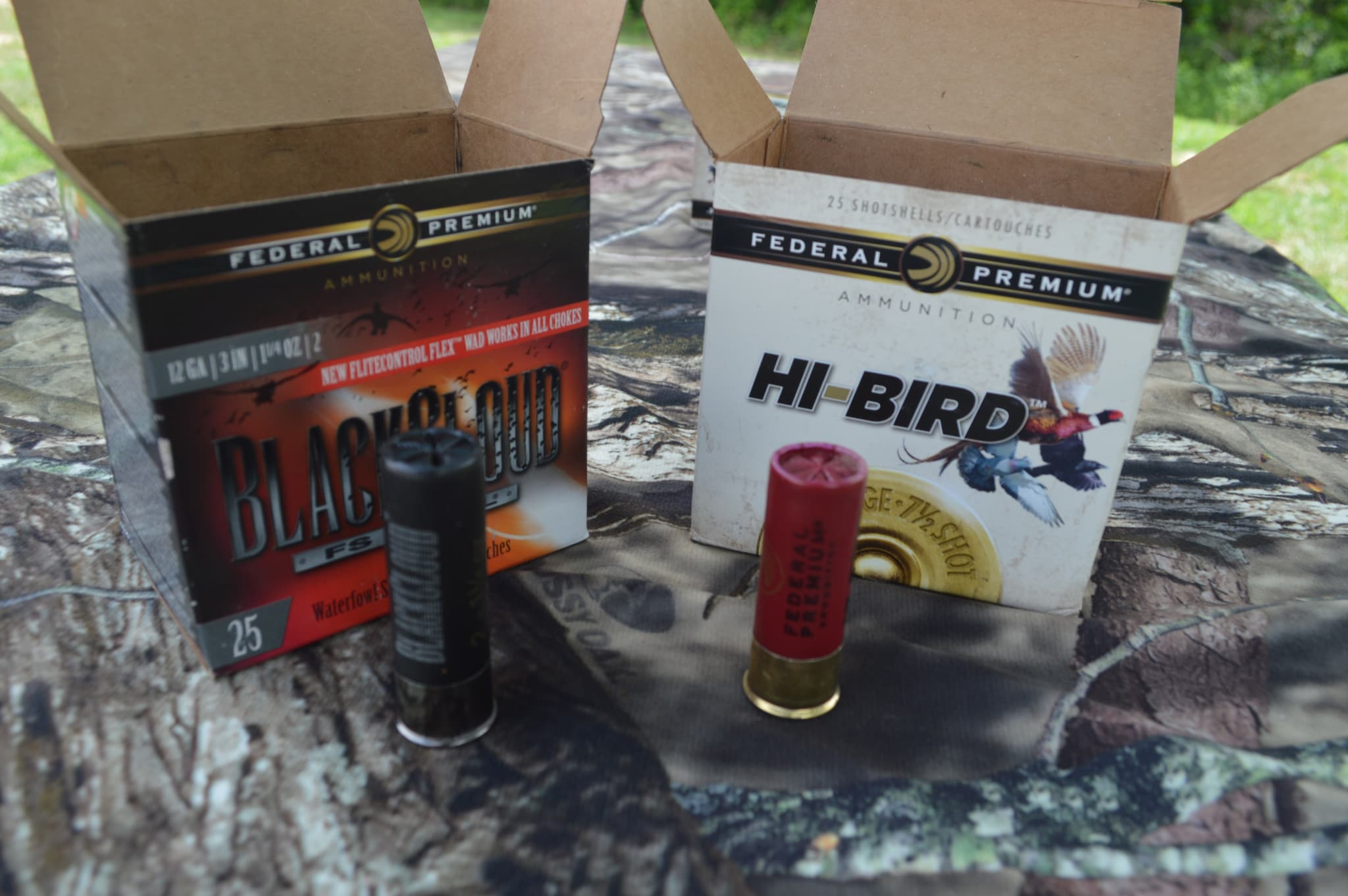 "We shot clays with both of Federal Premium's shotgun rounds for hunters. The new Black Cloud features a re-designed wad that allows it to be fired from any choke, whereas previously Black Cloud could only be fired with one of the companies ammo-specific tubes. While the Black Cloud comes in heavier payloads and longer shell lenghths for waterfowlers, Hi Bird has been released in 2-3/4"" 12-gauge options for upland game like doves, pigeons, and pheasants. The wad technology in Hi Bird is designed to decrease recoil and produce consistent patterns. (Photo: Kristin Alberts)"