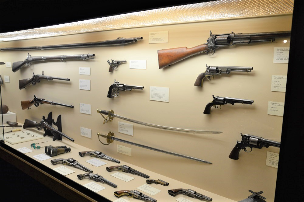 If you are a Civil War buff, there are dozens of exhibits with martial artifacts from the War Between the States. And yes, that is an 1855 Colt Revolving Carbine in the top corner, one of just 4,600 made for the Union Army.