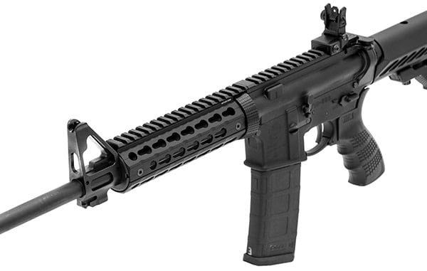 The UTG Pro Keymod handguard mounted on a rifle. (Photo: Leapers)