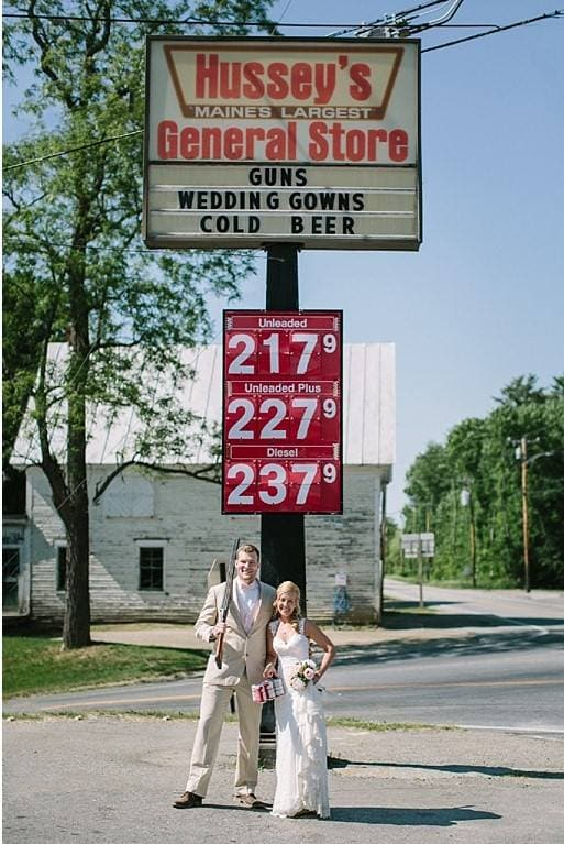 """Kristen Ballantyne and her husband on their wedding day in front of Hussey's General Store. Ballantyne's great-grandparents opened the store in 1923 as a """"mishmash of things."""" Formal wear was added in the 1950s."""