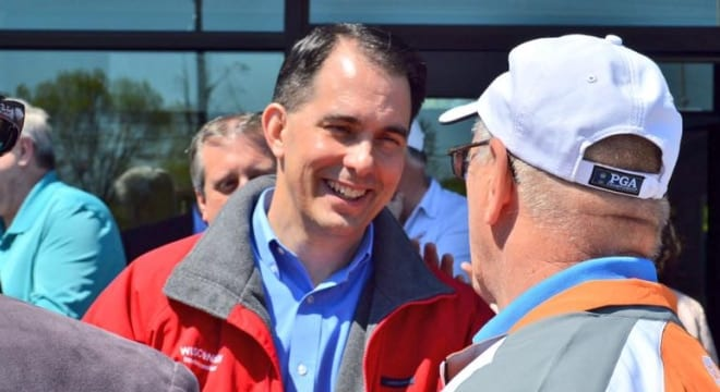 """Walker told reporters """"it's appropriate to have the license"""" when asked about a permitless carry bill last week. (Photo: Gov. Walker's office)"""
