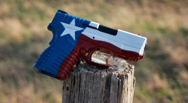 A cerekoted Springfield XD in Texas state flag motif (Photo: Warrior Customz)