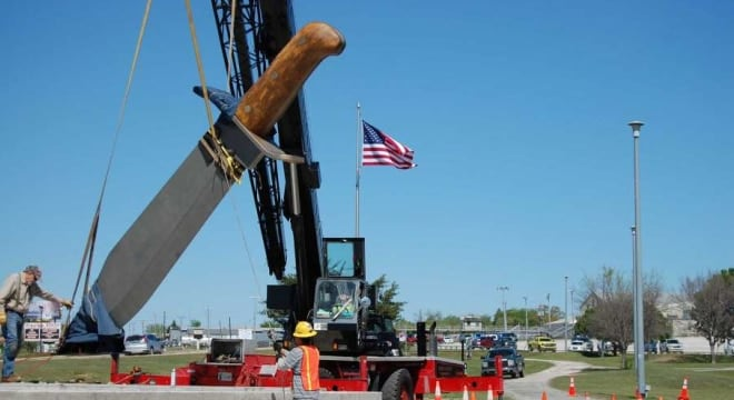 Bowie, Texas is home to the world's largest Bowie Knife, a blade important to the Lone Star State's history and legal to carry starting Sept. 1 (Photo: Bowie Chamber of Commerce)