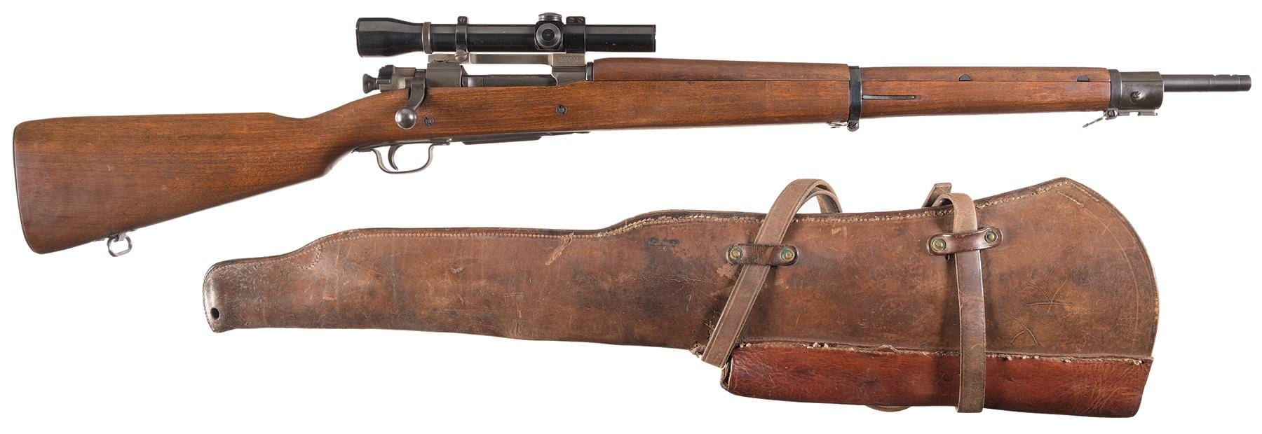 U.S. Remington Model 1903A4 Bolt Action Sniper Rifle with Scope Weaver K3 scope and leather scabbard