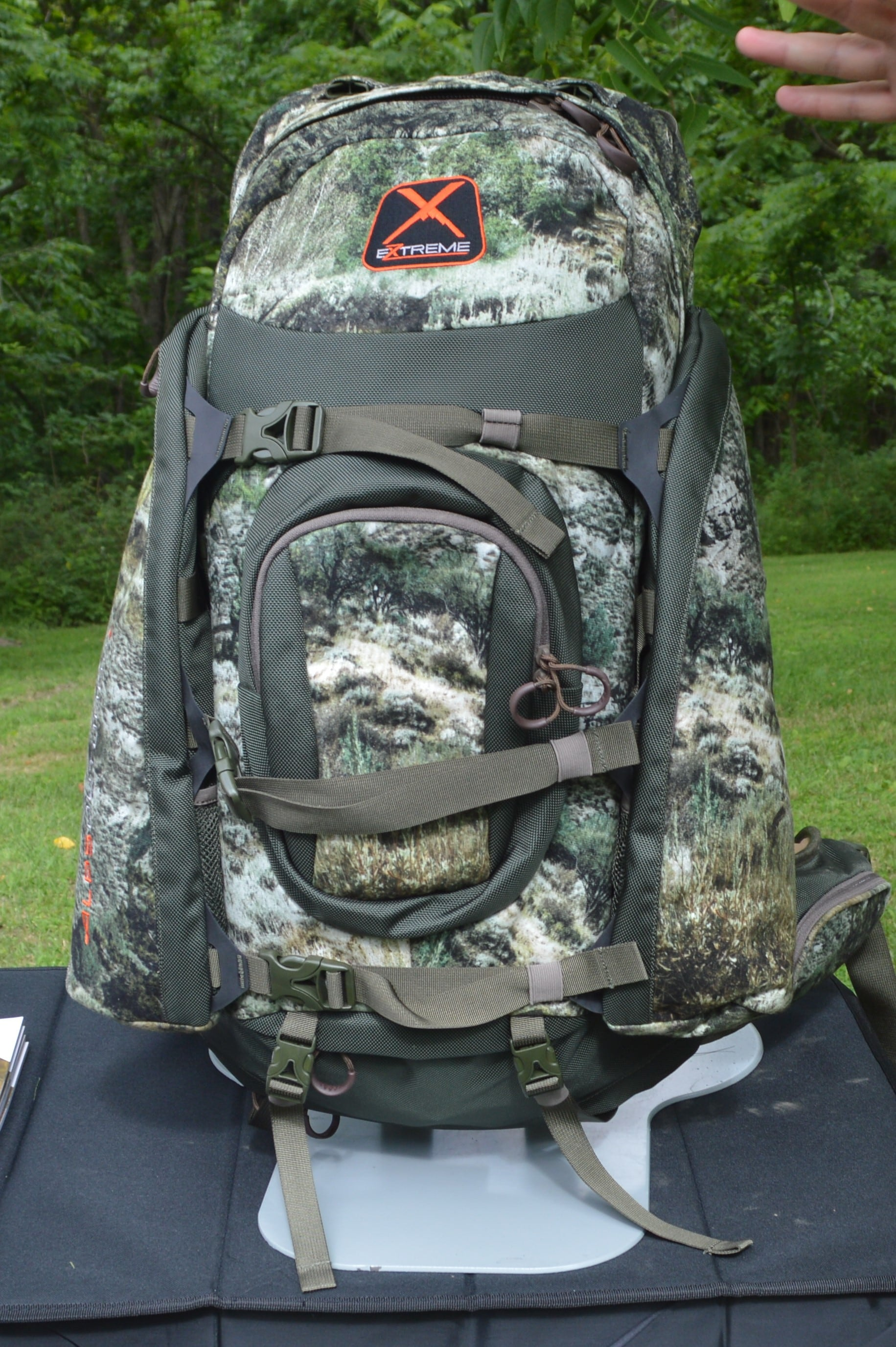 One of the most popular of Alps packs is this Traverse X. Not only is it a capable backcountry rig with molded foam suspension, there's also a bow/gun dropdown pocket, shooting stick/tripod holder, hydration pocket, and a rain cover, but the pack doubles as a meat hauler. (Photo: Kristin Alberts)