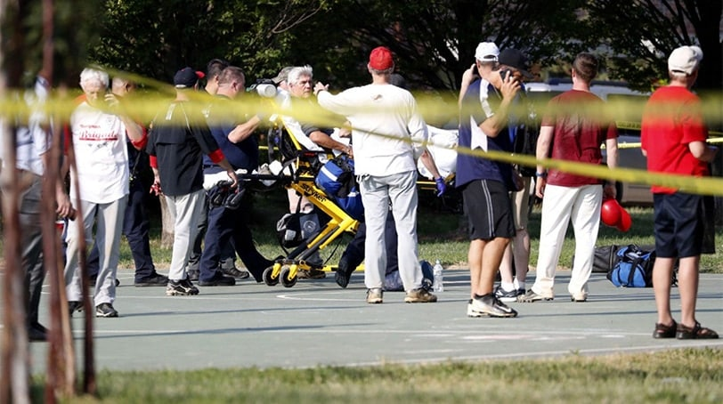 The scene of the shooting at a GOP baseball practice Wednesday morning near DC. (Photo Shawn Thew via CNN)