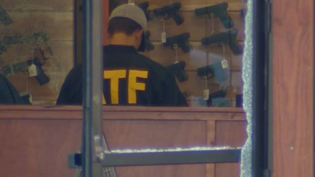 "ATF investigate ""smash and grab"" style burglary at DCF Guns in Castle Rock, Colorado on June 27, 2017. (Photo: Channel 9 News)"