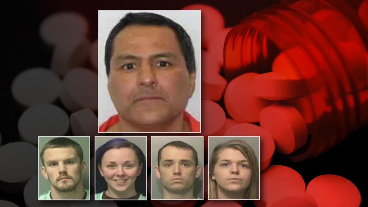 Luke Martin (top) was sentenced to 12-and-a-half years in prison on drug charges connected to 17 robberies committed by four of his co-defendants, Alexander Hamilton, Sarah Coe, Shelly Avery, and Chris Avery. (Photo: Des Moines Police Department)
