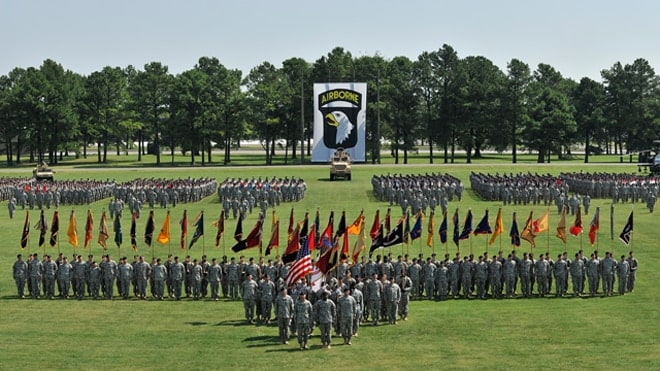 Soldiers rehearse for a division review on Fort Campbell on Aug. 16, 2012. The division review was the concluding event for the 2012 Week of the Eagles celebrating the 70th anniversary of history and valor of the 101st Airborne Division. (Photo: U.S. Army)