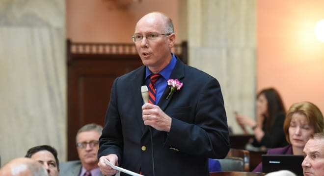 Ohio Rep. John Becker, shown here speaking on the House floor, argues his bill decriminalizes gun free zones for concealed handgun license holders. (Photo: Ohio House.gov)