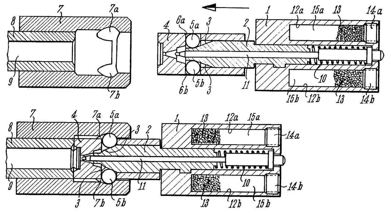 A schematic of the roller-delayed blowback mechanism used in the MP5 submachine gun. (Image: Wiki/USPTO)