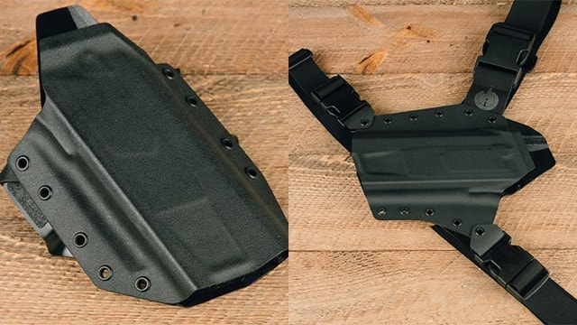 GunfightersINC supplies the Ronin, left, and Kenai chest holster, right, for the Maxim 9. (Photo: SilencerCo)