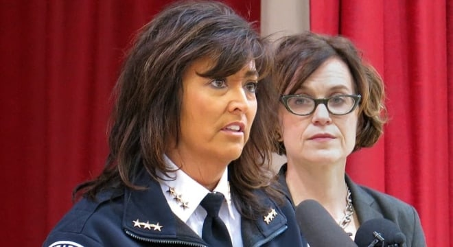 Police Chief Janee Harteau and Minneapolis Mayor Betsy Hodges in a file photo (Photo: MPR News)