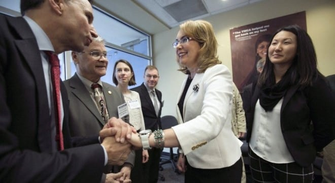 Former U.S. Rep. Gabby Giffords, shown here launching a new gun control group in Oregon last year, says the measure will save lives. (Photo: Americans for Responsible Solutions)