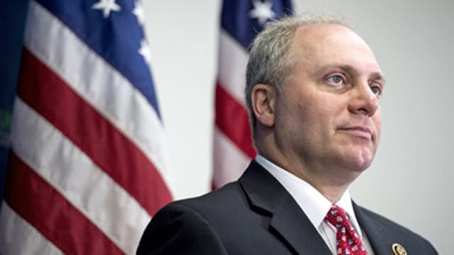 UNITED STATES - JUNE 2: House Majority Whip Steve Scalise, R-La., speaks to the media following the House Republican Conference meeting in the Capitol on Tuesday, June 2, 2015. (Photo By Bill Clark/CQ Roll Call) (CQ Roll Call via AP Images)