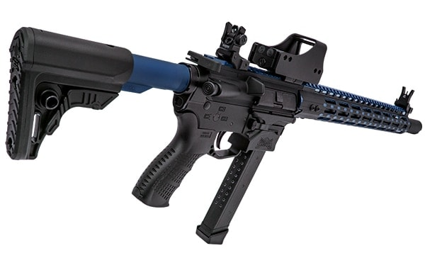 The blue tube paired with the blue UTG Pro Super Slim handguards. (Photo: Leaper's)