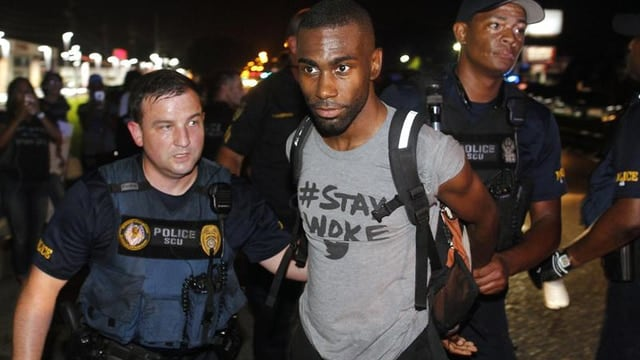 DeRay McKesson live-streamed his arrest during a Black Lives Matter protest in Baton Rouge on July 9, 2016. (Photo: AP)