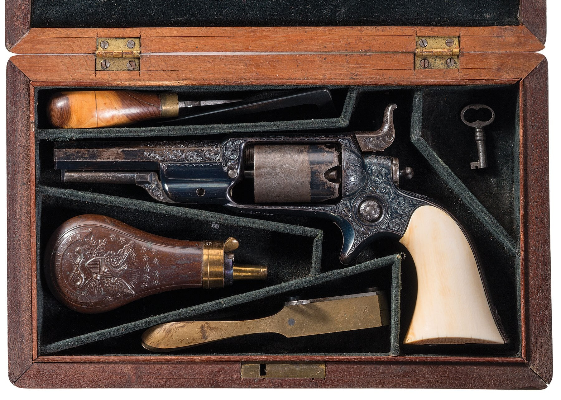 Ever seen a 2nd Model Colt Model 1855 Sidehammer Revolver in .28-caliber? Here you go. They also have a very nice Root model with a 3.5-inch barrel https://www.rockislandauction.com/detail/71/110/cased-colt-model-1855-root-model-percussion-revolver#detail