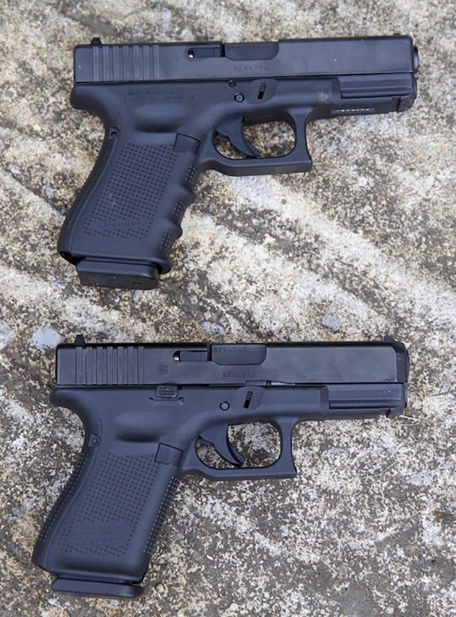 2 glock g19 guns side by side comparison of gen 4 and gen 5