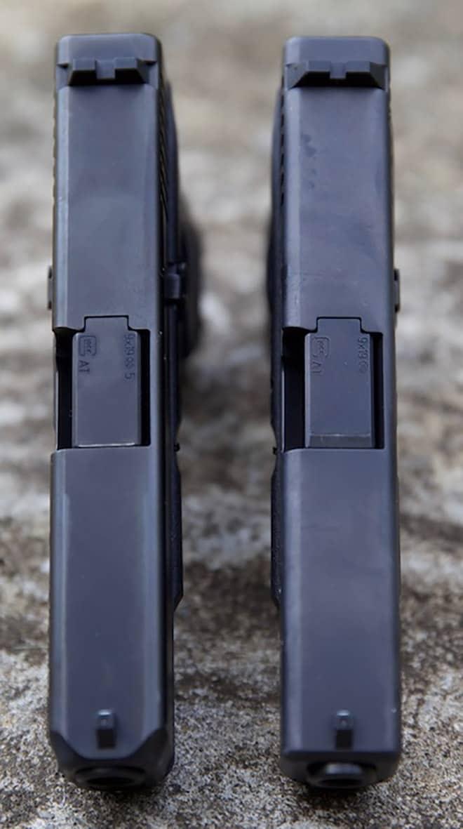 top view comparison of gen 4 and gen 5 glock 19