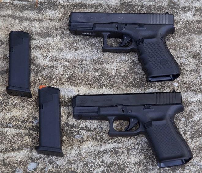 2 glock 19 guns and 2 glock 19 magazines