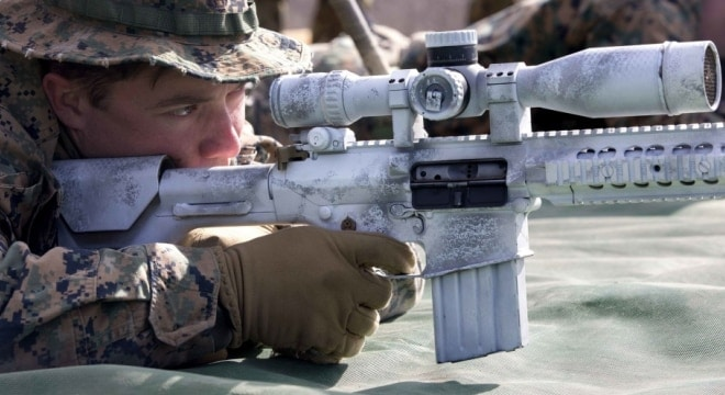 The military already uses a number of 7.62mm rifles such as the semi-auto M110 Semi-Automatic Sniper System shown here and the legacy select-fire M14, but could soon be getting a lot more. (Photo: LCpl. Juan C. Bustos/U.S. Marines)