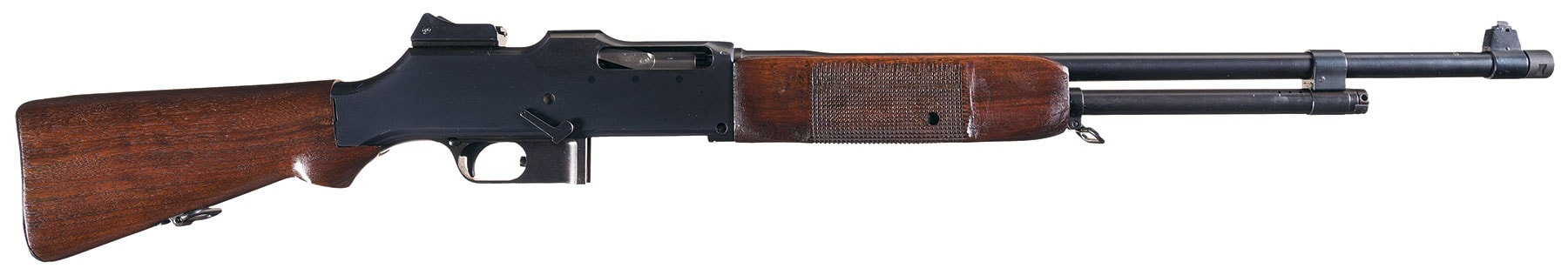 Marlin-Rockwell made a number of M1918 Browning Automatic Rifles (BARs) during World War I and this model, a true 1918 vintage example, escaped later modifications into the M1918A2 standard. Interestingly, it has British proofmarks.