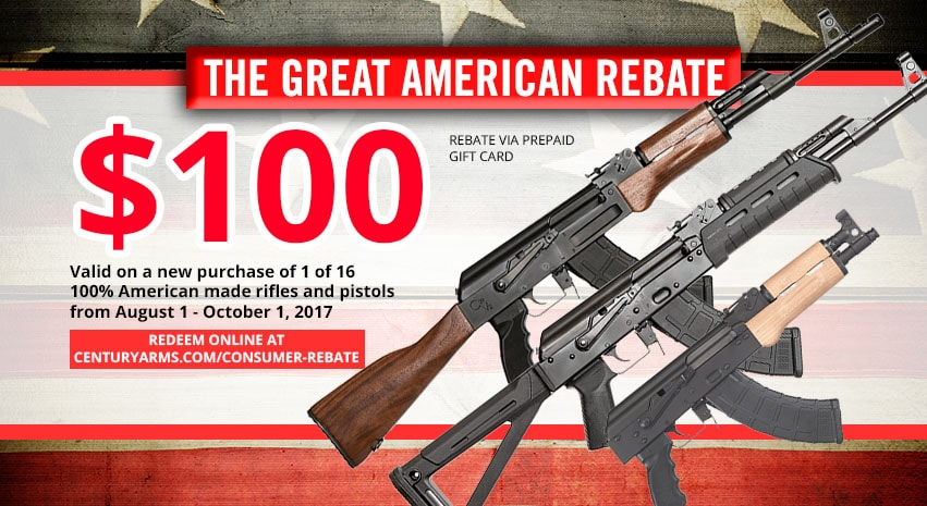 Century Arms coughs up $100 gift cards to consumers buying one of 16 new rifles or pistols from the company. (Photo: Century Arms)