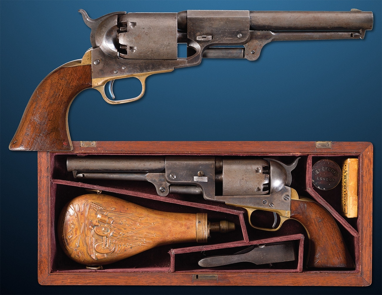 "One of Colt's earliest designs, this ""D Company"" Walker Model 1847 percussion revolver is a beast with its 9-inch partial octagon barrel and tips the scales at over 4-pounds. Just 220 of these guns were marked for D Company of the U.S. Mounted Rifles regiment as part of a 1,000 revolver run. Estimated Price: $125,000 - $175,000"