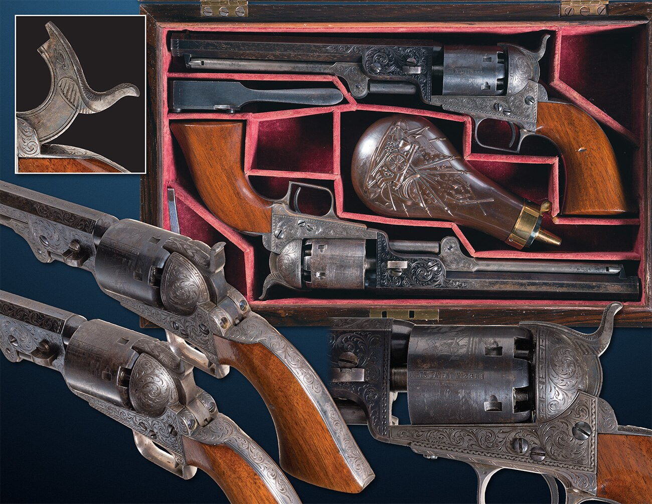 "The crown jewel is this set of Colt Model 1851 Navy style ""Squareback"" .36 caliber percussion revolvers, so named because of their distinctive squarebacked brass trigger guards. Estimated Price: $200,000 - $325,000, but hey, its a set."