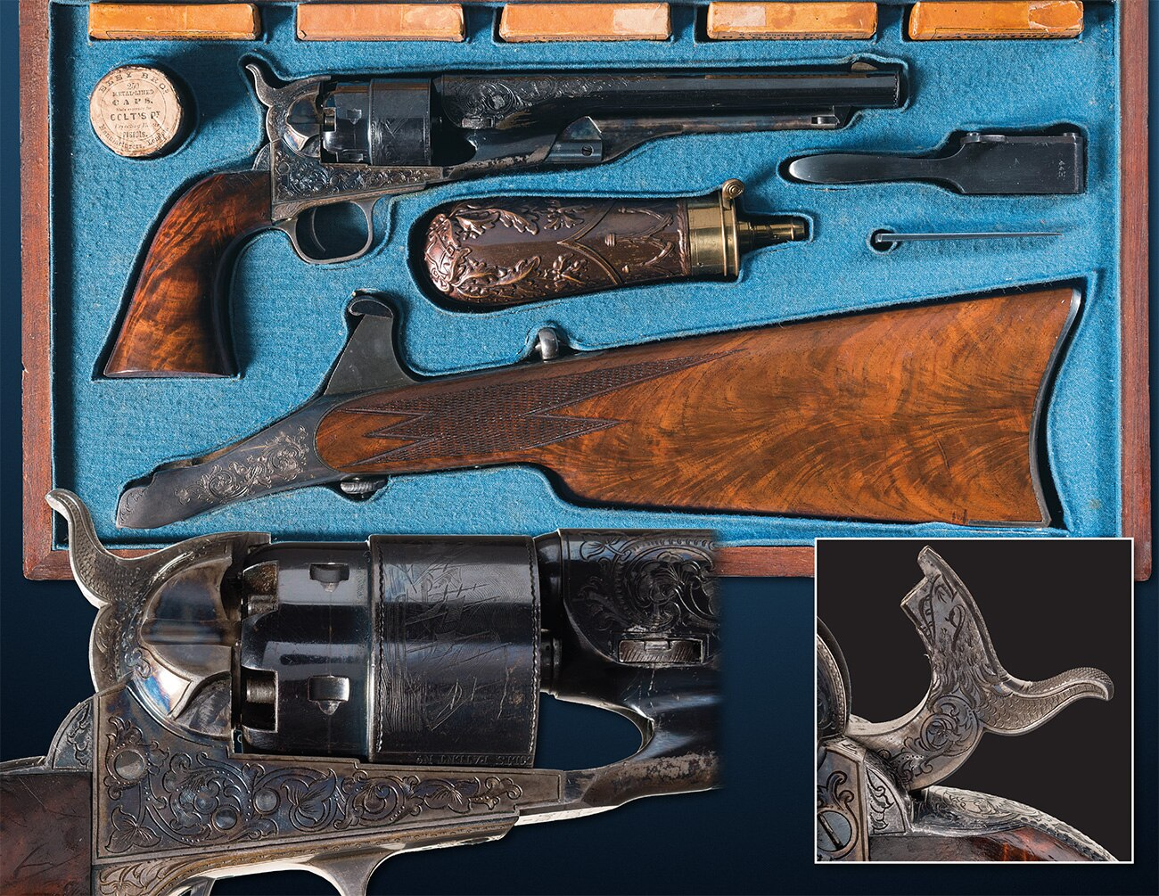 Next up is this exhibition engraved Colt Model 1860 .44 caliber Army Revolver with its matching factory shoulder stock. While the 8-inch barrel is sweet, the stock is what sets the piece off and it has been documented as passing through some of the most estemmed firearms collections in history. Estimated Price: $160,000 - $280,000