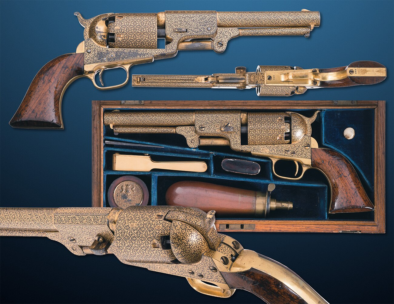 This Colt Third Model Hartford London Dragoon is a heavy .44, and has seen some use over the years, but is still heavily decorated in gold damascene. With SN#529, it is one of just 700 made by Colt for sale in England between 1853 and 1857. Estimated Price: $30,000 - $45,000. RIA also has a very similar https://www.rockislandauction.com/detail/71/102/colt-model-1851-navy-revolver-london#detail .36 caliber London Colt Navy up for grabs as well.
