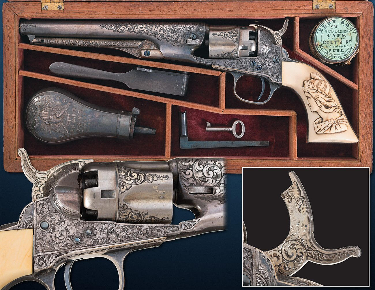 This .36 caliber Colt Model 1862 Police was extensively adorned in Germanic scrollwork and a Liberty motif by New York City-based master engraver Louis D. Nimschke, and was probably meant for an officer in the Civil War. Estimated Price: $45,000 - $70,000