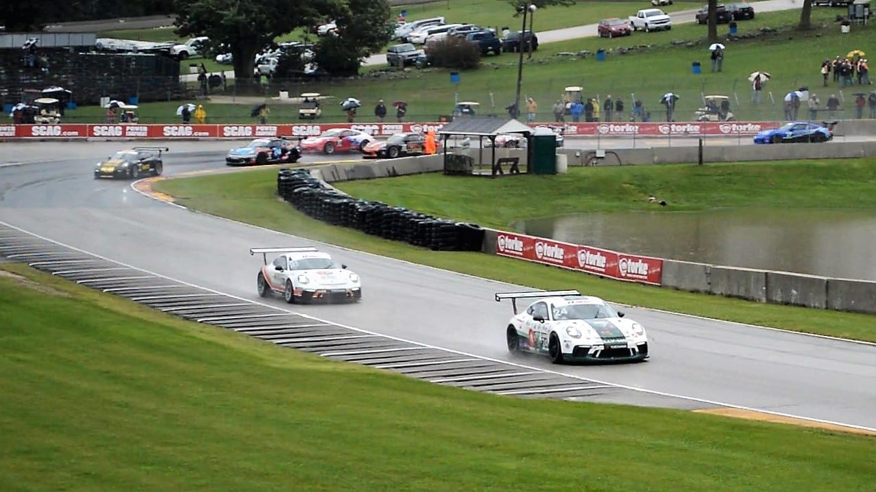 Imperato Jr holds off the rest of the pack as he chases the lead car in this IMSA GT3 Cup race. (Photo: Kristin Alberts)