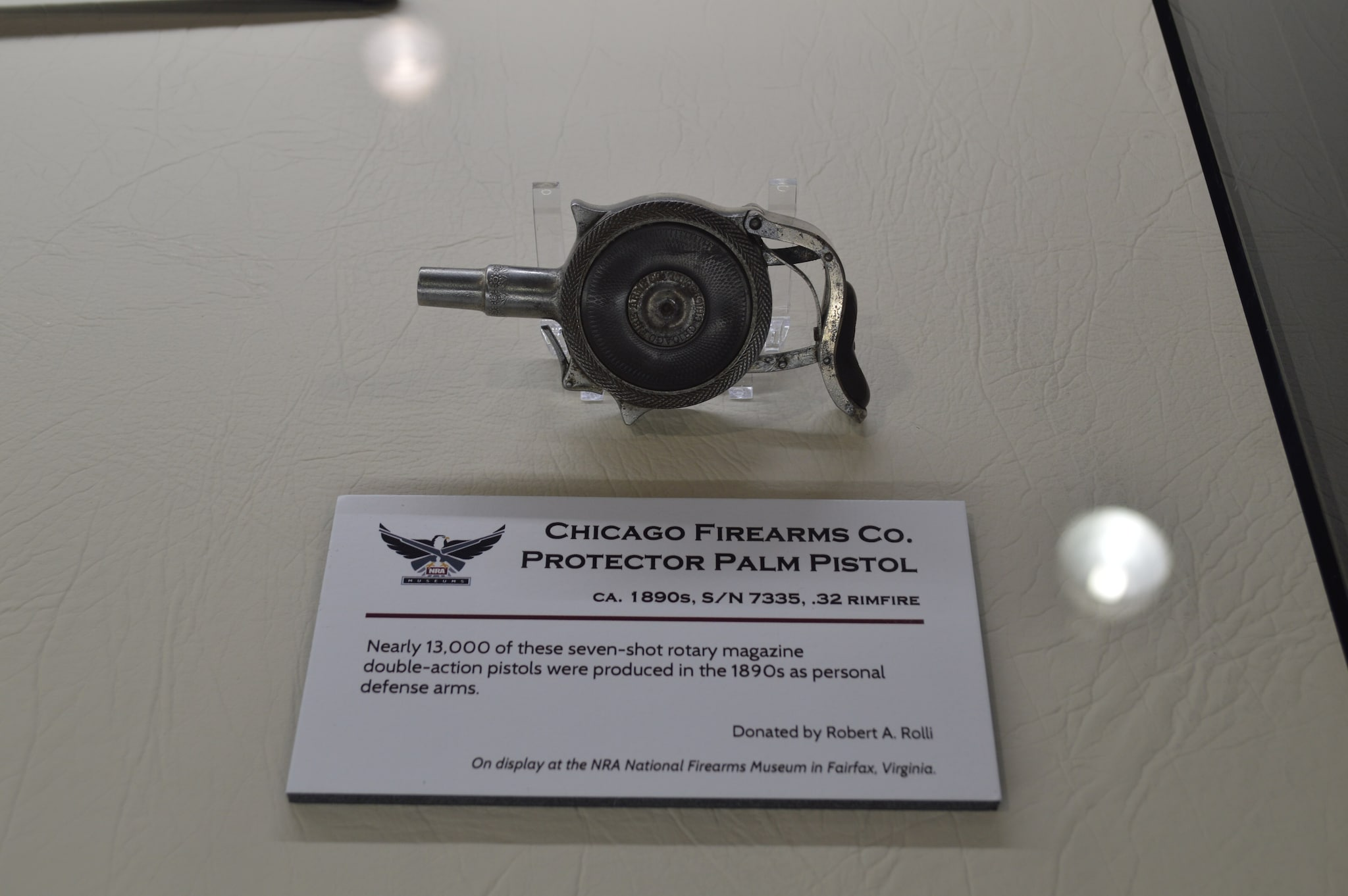 In a different era of concealed carry, this Palm Pistol was en vogue. This example is housed at the NRA Museum in Fairfax, VA. (Photo: Kristin Alberts/Guns.com)